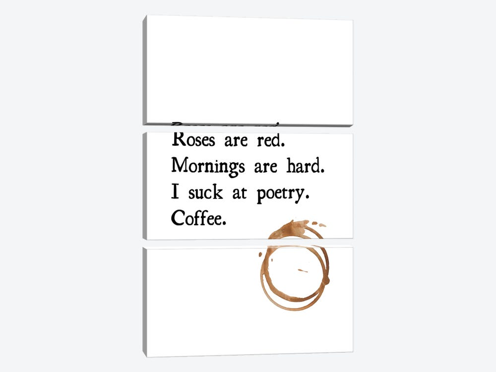 Roses Are Red Coffee Poem With Coffee Stain by Design Harvest 3-piece Canvas Print