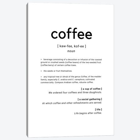 Coffee Dictionary Definition Quote Canvas Print #DHV40} by Design Harvest Canvas Art