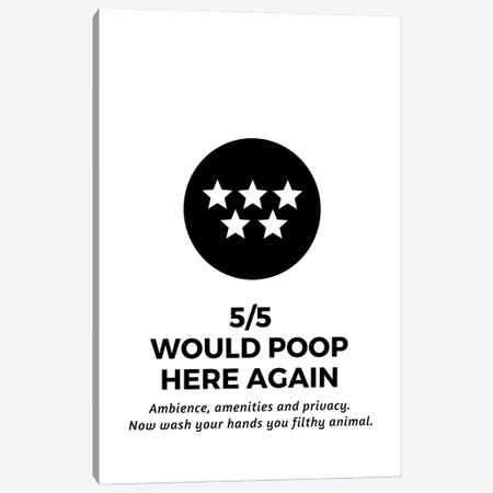 Five Star Bathroom Review And Wash Your Hands Canvas Print #DHV42} by Design Harvest Canvas Artwork