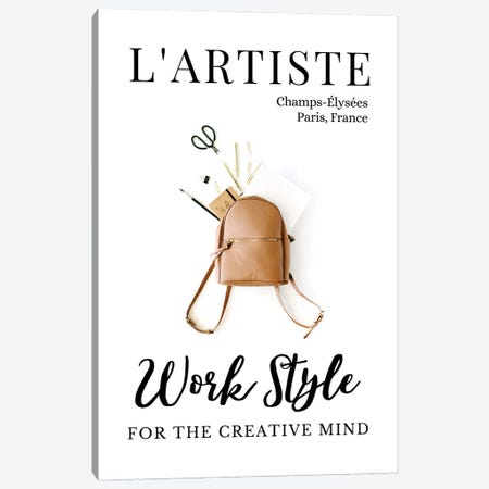 L'Artiste French Art Magazine Cover Design With Backpack Canvas Print #DHV45} by Design Harvest Canvas Art Print