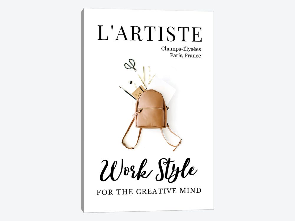 L'Artiste French Art Magazine Cover Design With Backpack by Design Harvest 1-piece Canvas Artwork