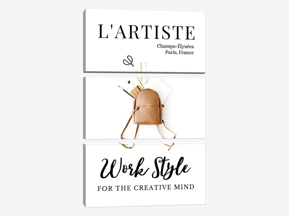 L'Artiste French Art Magazine Cover Design With Backpack by Design Harvest 3-piece Canvas Artwork