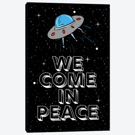 We Come In Peace Space Aliens And Space Ship Canvas Print #DHV55} by Design Harvest Canvas Wall Art