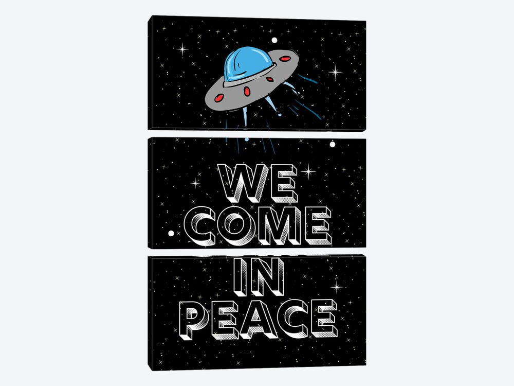We Come In Peace Space Aliens And Space Ship by Design Harvest 3-piece Canvas Print