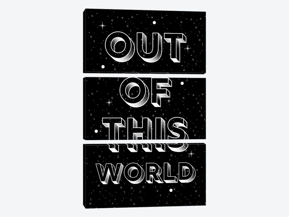 Out Of This World Quote On Space Background by Design Harvest 3-piece Canvas Art Print