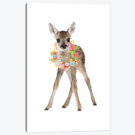 Fawn Deer Photography With Watercolour Flower Wreath Canvas Print #DHV58} by Design Harvest Canvas Art Print