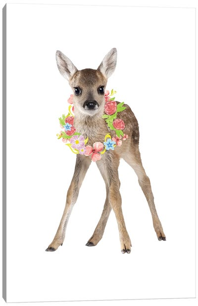 Fawn Deer Photography With Watercolour Flower Wreath Canvas Art Print