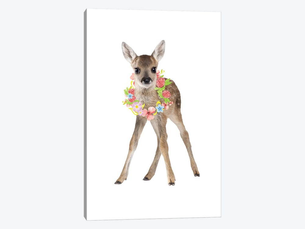 Fawn Deer Photography With Watercolour Flower Wreath by Design Harvest 1-piece Canvas Artwork