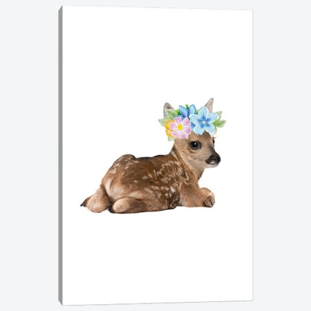 Fawn Deer Photography With Watercolour Flower Crown Canvas Print #DHV59} by Design Harvest Art Print