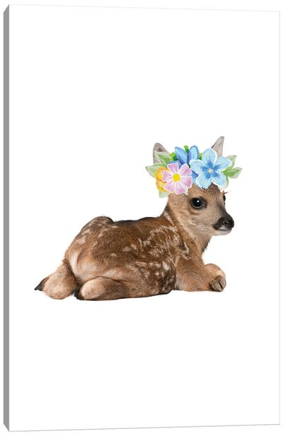 Fawn Deer Photography With Watercolour Flower Crown Canvas Art Print