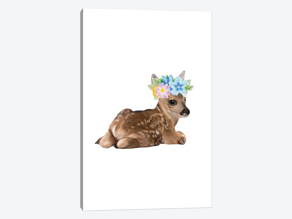 Fawn Deer Photography With Watercolour Flower Crown by Design Harvest 1-piece Art Print