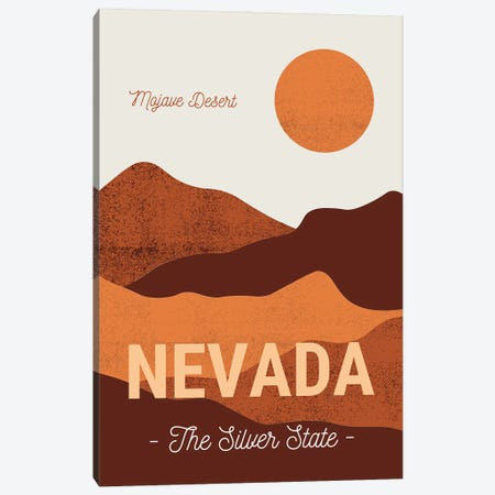 Nevada And Mojave Desert Vintage Travel Canvas Print #DHV5} by Design Harvest Canvas Art