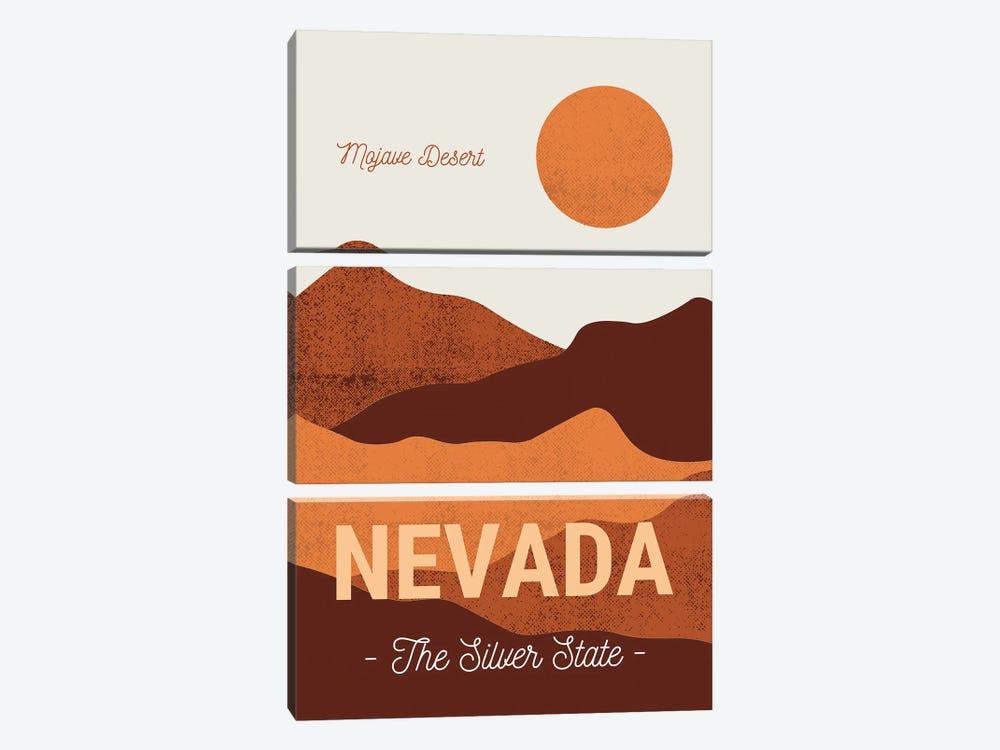 Nevada And Mojave Desert Vintage Travel by Design Harvest 3-piece Canvas Art Print