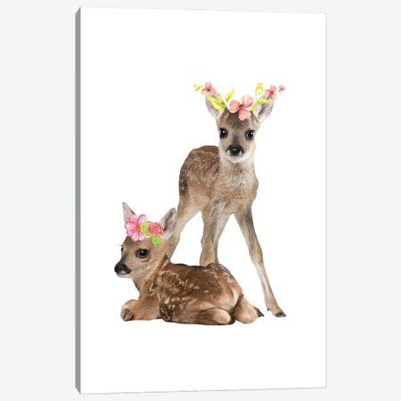 Fawn Deers Photography With Watercolour Flower Crowns Canvas Print #DHV60} by Design Harvest Canvas Art