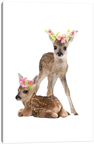 Fawn Deers Photography With Watercolour Flower Crowns Canvas Art Print