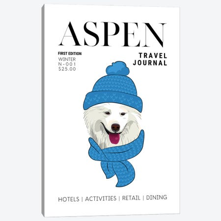 Aspen Travel Journal Magazine Cover With Winter Dog In Scarf Canvas Print #DHV61} by Design Harvest Canvas Art