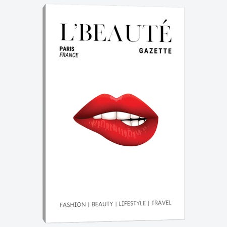 L'Beaute Beauty Magazine Cover With Red Lipstick On Bitten Lips Canvas Print #DHV62} by Design Harvest Canvas Artwork