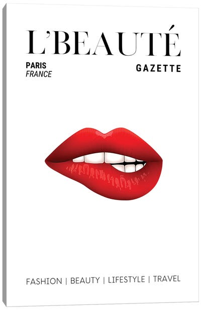L'Beaute Beauty Magazine Cover With Red Lipstick On Bitten Lips Canvas Art Print