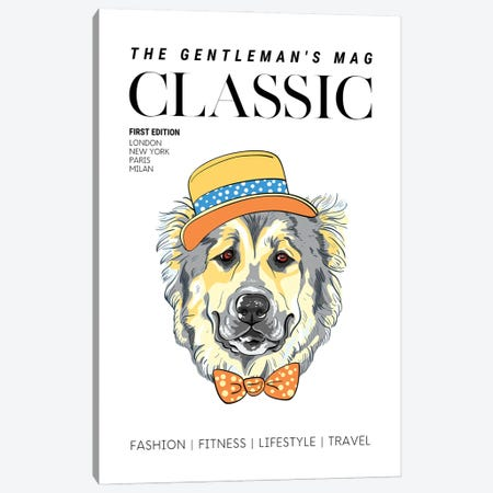 The Classic Gentleman'S Magazine Cover With Dressed Up Dog In Hat And Bowtie Canvas Print #DHV64} by Design Harvest Art Print