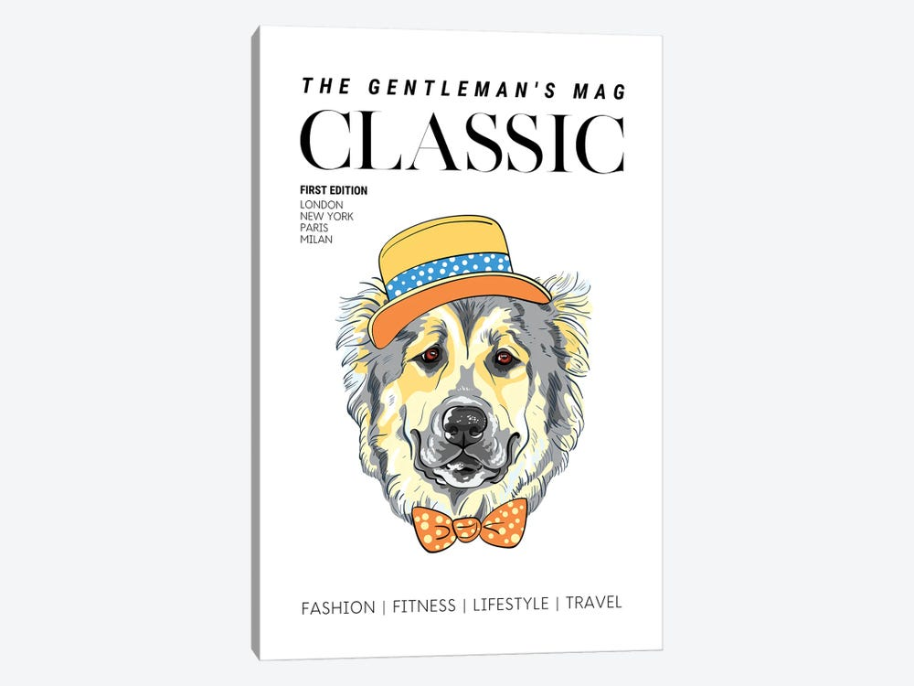 The Classic Gentleman'S Magazine Cover With Dressed Up Dog In Hat And Bowtie by Design Harvest 1-piece Canvas Print