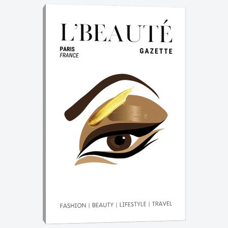 L'Beaute French Beauty Magazine Cover With Golden Eyeshadow And Makeup Canvas Print #DHV66} by Design Harvest Canvas Art Print