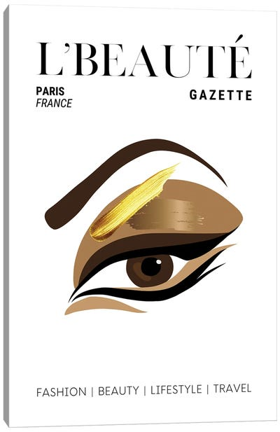 L'Beaute French Beauty Magazine Cover With Golden Eyeshadow And Makeup Canvas Art Print