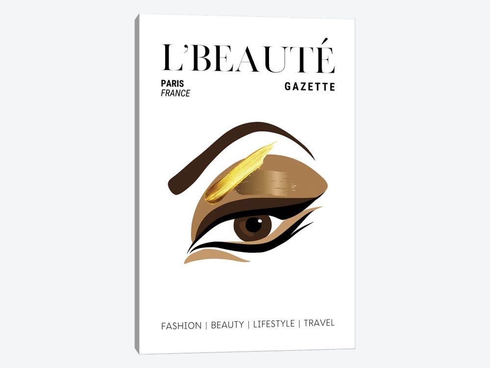 L'Beaute French Beauty Magazine Cover With Golden Eyeshadow And Makeup by Design Harvest 1-piece Canvas Art Print