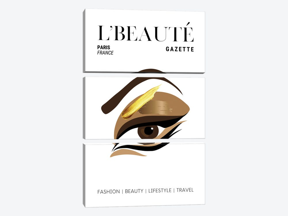 L'Beaute French Beauty Magazine Cover With Golden Eyeshadow And Makeup by Design Harvest 3-piece Art Print