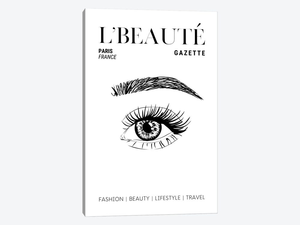 L'Beaute French Beauty Magazine Cover With Eyebrows And Eyelashes by Design Harvest 1-piece Canvas Art