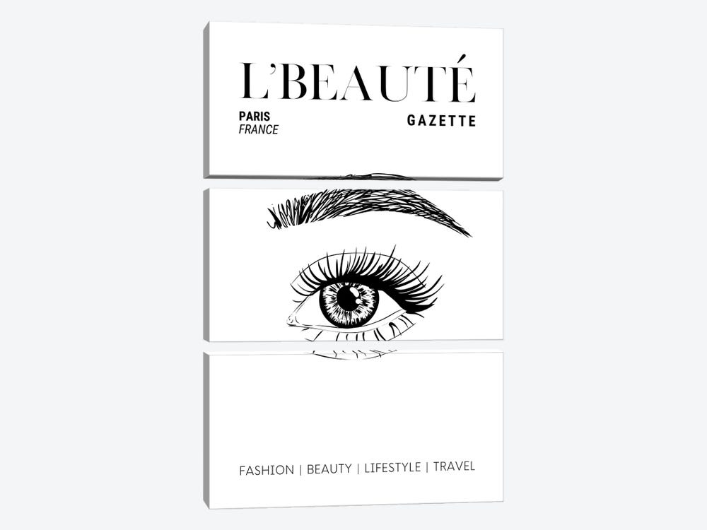 L'Beaute French Beauty Magazine Cover With Eyebrows And Eyelashes by Design Harvest 3-piece Canvas Wall Art