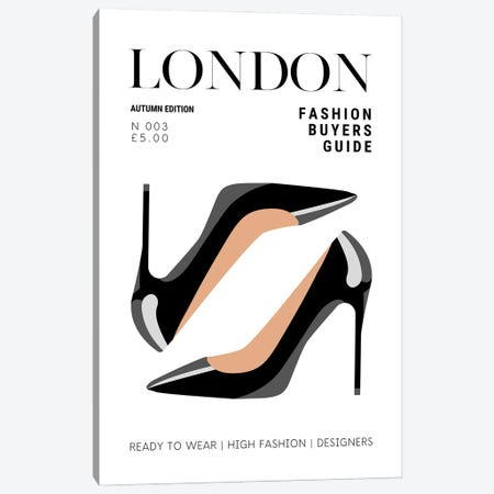 London Fashion Guide Magazine Cover With Patent Black High Heel Stilettos Canvas Print #DHV68} by Design Harvest Canvas Wall Art