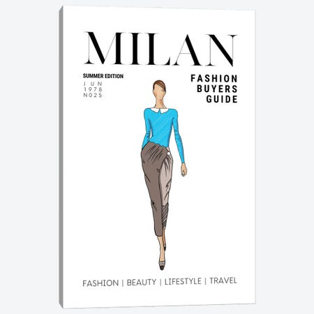 Milan Italian Fashion Guide With Retro Vintage Fashion Illustration Canvas Print #DHV69} by Design Harvest Canvas Artwork