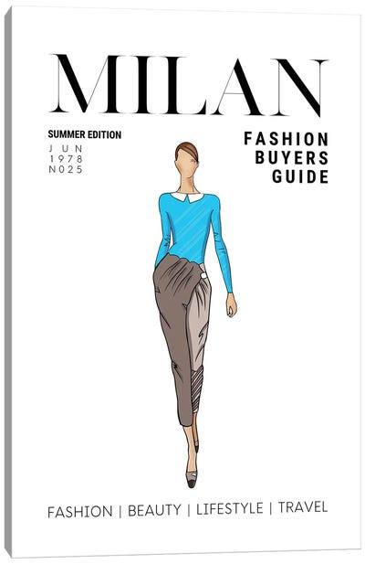 Milan Italian Fashion Guide With Retro Vintage Fashion Illustration Canvas Art Print