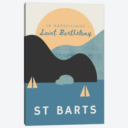 St Barts Nautical Sunset And Yachts Canvas Print #DHV6} by Design Harvest Canvas Art