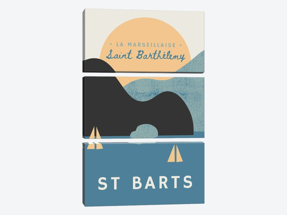 St Barts Nautical Sunset And Yachts by Design Harvest 3-piece Canvas Art