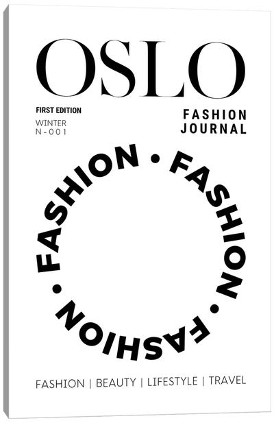 Oslo Fashion Journal Magazine Cover In Black And White Canvas Art Print