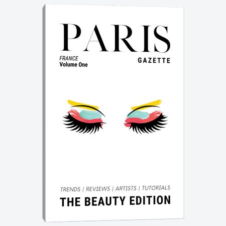 Paris Gazette Makeup Magazine Cover With Colorful Eyeshadow And Lashes Canvas Print #DHV71} by Design Harvest Art Print