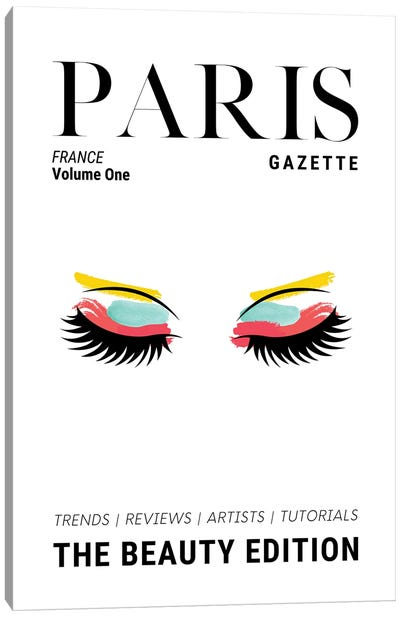 Paris Gazette Makeup Magazine Cover With Colorful Eyeshadow And Lashes Canvas Art Print