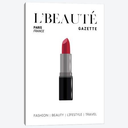 L'Beaute Gazette Makeup Magazine Cover With Classic Red Lipstick Canvas Print #DHV73} by Design Harvest Canvas Art Print