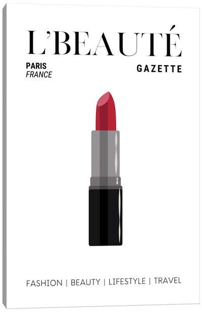 L'Beaute Gazette Makeup Magazine Cover With Classic Red Lipstick Canvas Art Print