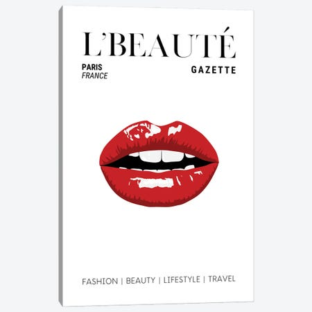 L'Beaute Gazette Beauty Magazine Cover With Classic Glossy Red Lips Canvas Print #DHV74} by Design Harvest Canvas Wall Art