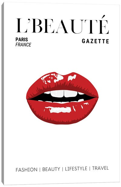 L'Beaute Gazette Beauty Magazine Cover With Classic Glossy Red Lips Canvas Art Print