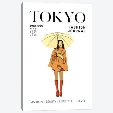 Tokyo Japanese Fashion Magazine Cover With Girl Holding Umbrella Canvas Print #DHV75} by Design Harvest Canvas Artwork