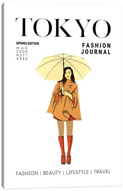 Tokyo Japanese Fashion Magazine Cover With Girl Holding Umbrella Canvas Art Print
