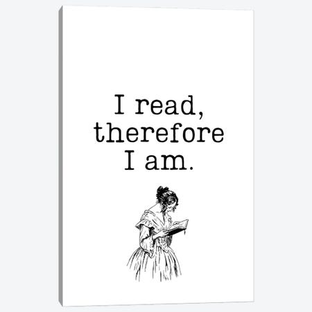I Read Therefore I Am Vintage Book Lovers Canvas Print #DHV77} by Design Harvest Canvas Artwork