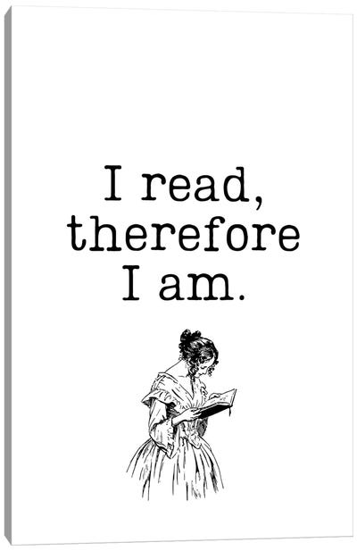 I Read Therefore I Am Vintage Book Lovers Canvas Art Print