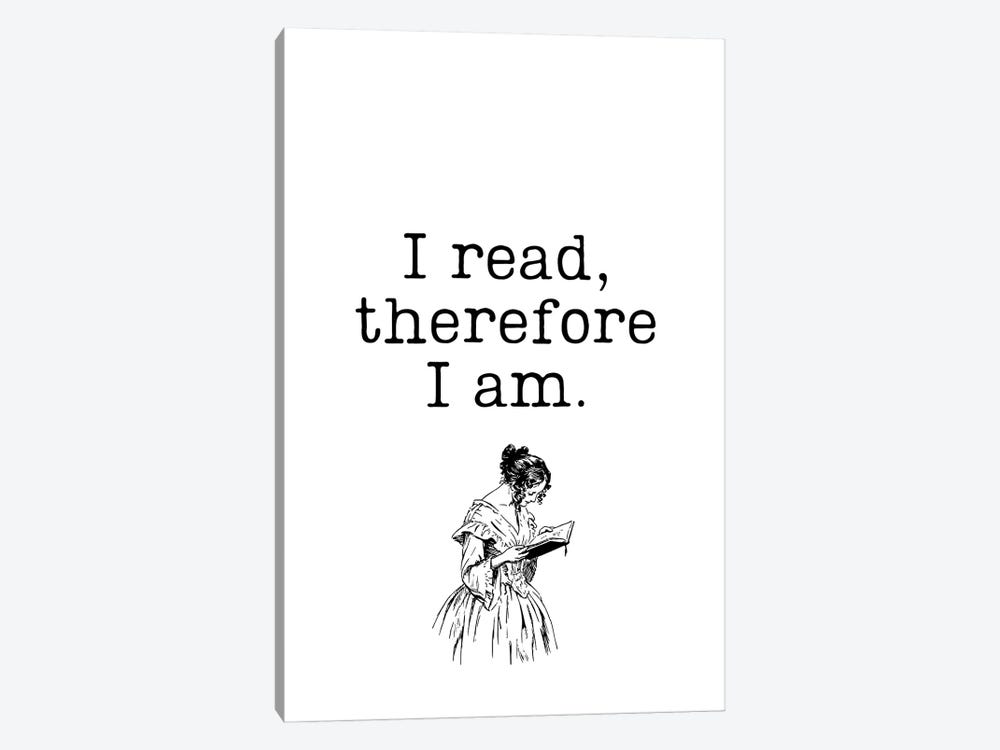 I Read Therefore I Am Vintage Book Lovers by Design Harvest 1-piece Canvas Print