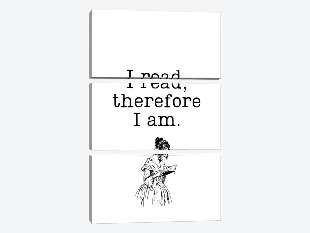 I Read Therefore I Am Vintage Book Lovers by Design Harvest 3-piece Canvas Print