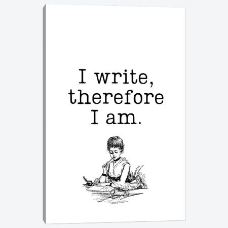 I Write Therefore I Am Vintage Book Lovers Canvas Print #DHV78} by Design Harvest Art Print