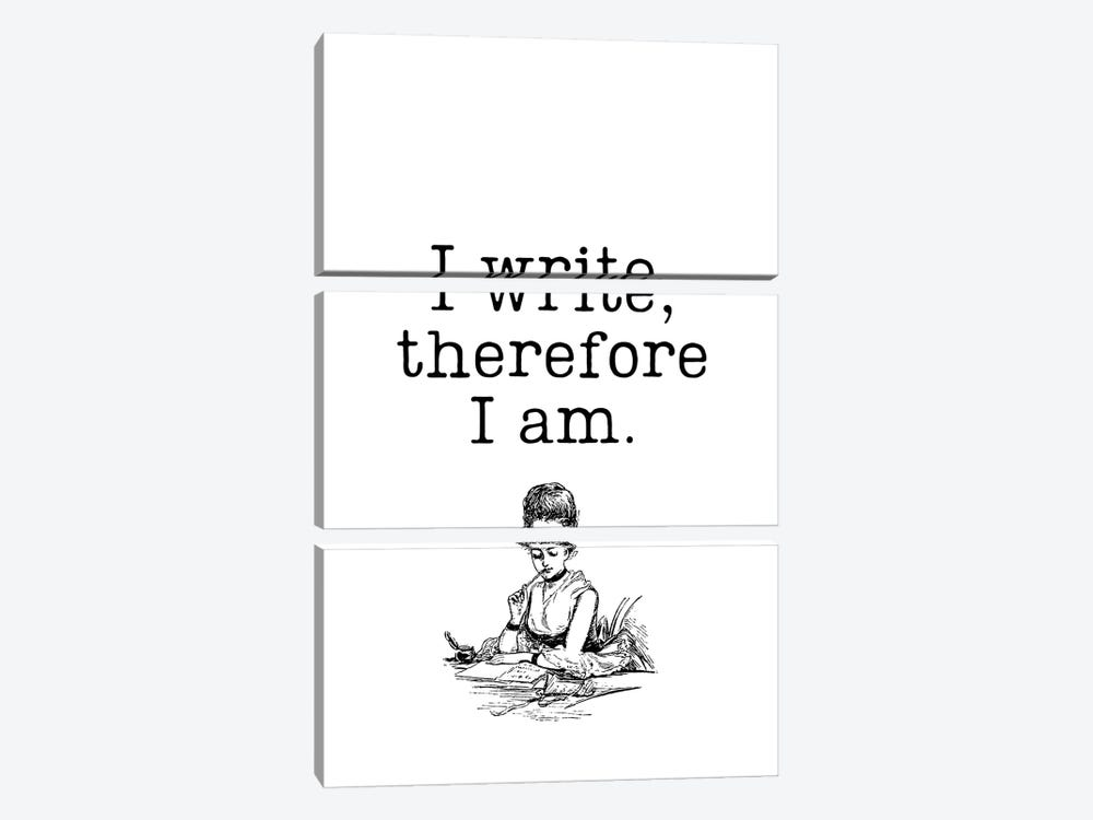 I Write Therefore I Am Vintage Book Lovers by Design Harvest 3-piece Canvas Wall Art